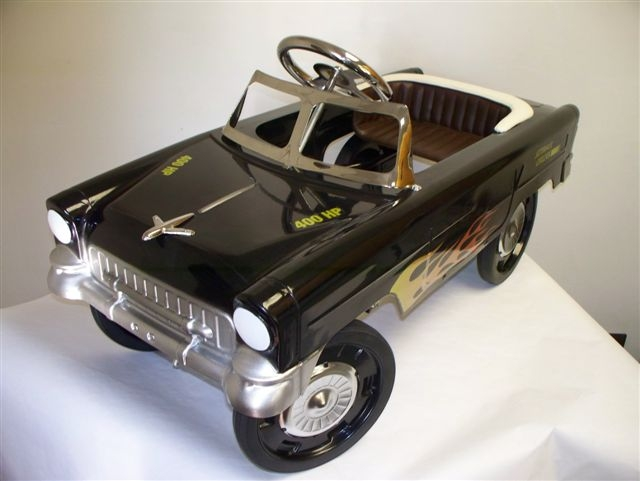 55 Black Hot Rod Classic Pedal Car with Flames